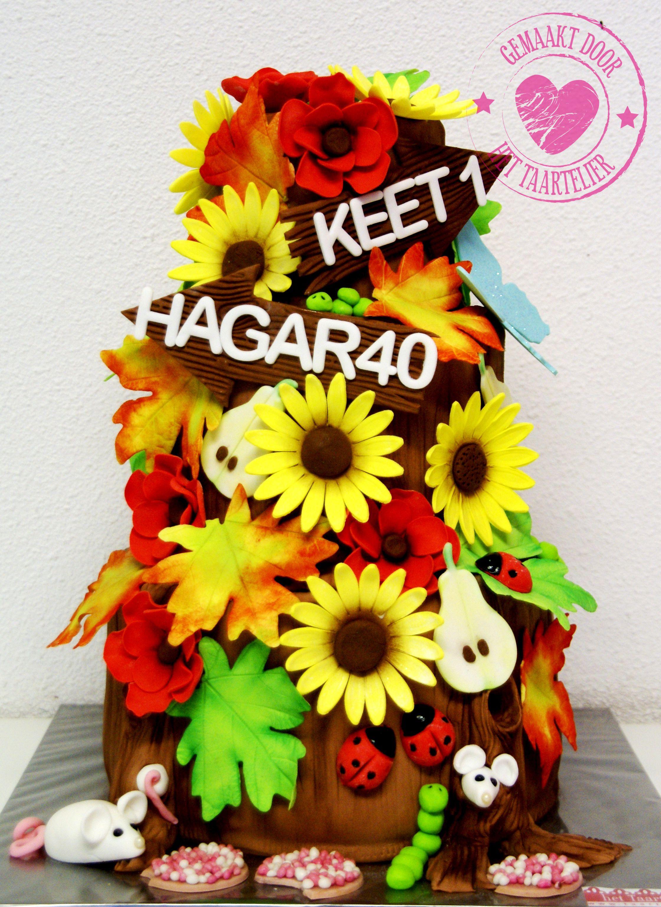 Birthday cake fondant colourful sunflowers  www.taartelier.nl