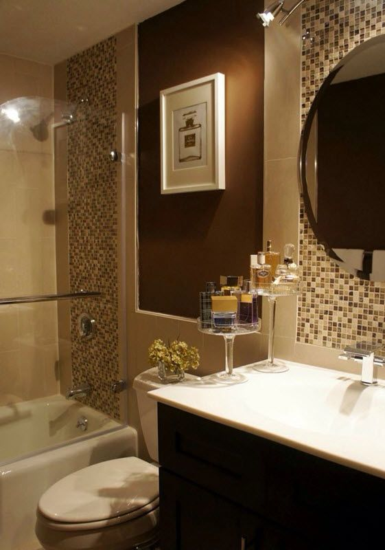 40 beige and brown bathroom tiles ideas and pictures for Brown and white bathroom accessories