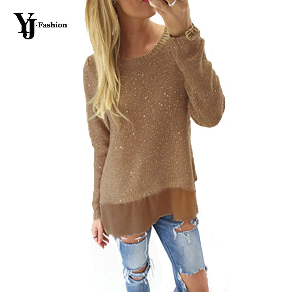 YJ Fashion Casual Loose Women Pullovers Sweaters Autumn Glittering ...