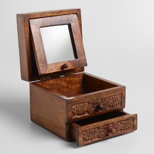 World Market Jewelry Box Enchanting Espresso Carved Annabelle Jewelry Box  World Market  Office Design Ideas