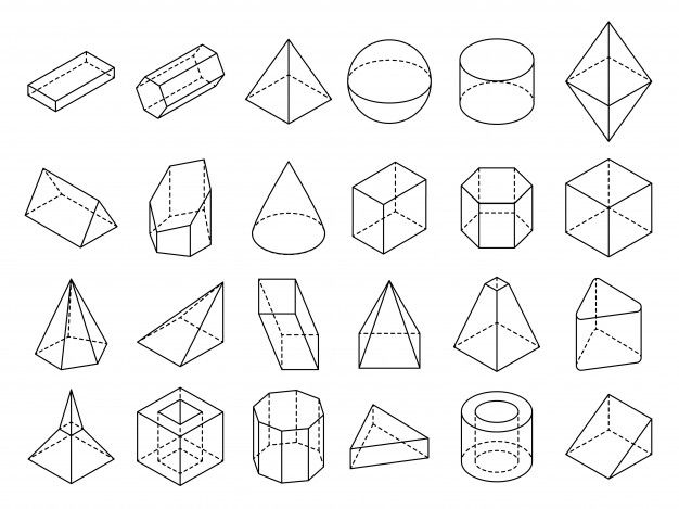 Abstract Isometric 3d Geometric Outline Shapes Set