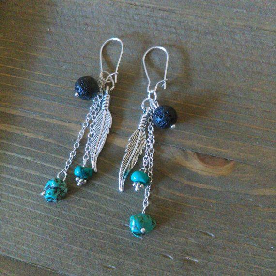 Feather earrings  black lava bead earrings  by EandSJewelryDesigns