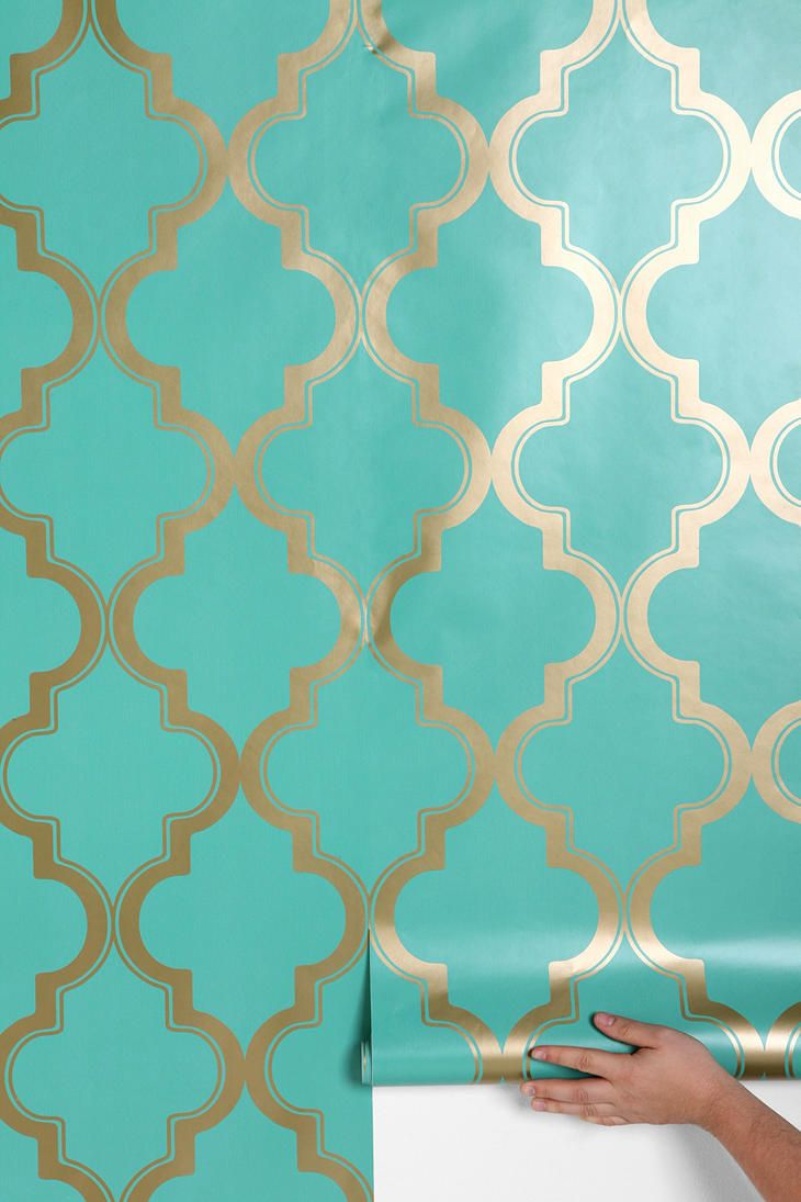 Urban outfitters removable wallpaper accent wall in the for Turquoise wallpaper for bedroom
