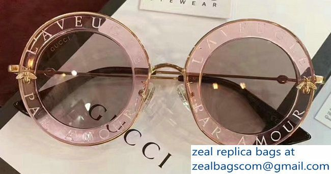1fdb4e19060 Gucci L  Aveugle Par Amour Round Frame Metal Bee Detail Sunglasses 470459  Pink 2017