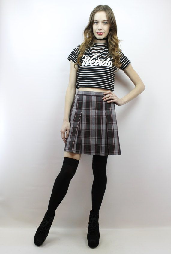ee3a2c07c7 Vintage 90s Grunge High Waisted Pleated Plaid Schoolgirl Mini Skirt, fits  size M by shopEBV