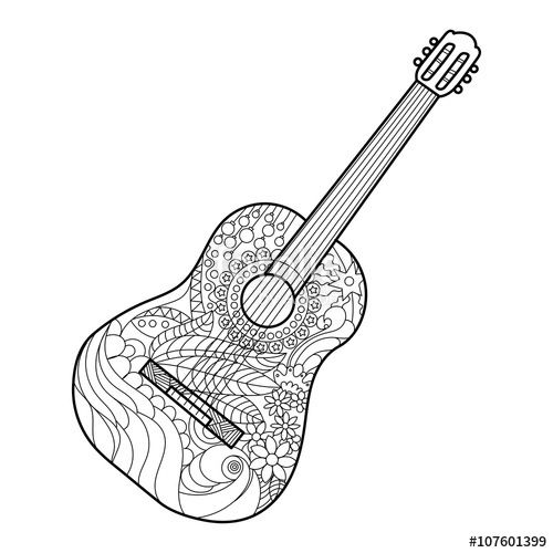Acoustic Guitar Coloring Page For Adults Music Coloring Black