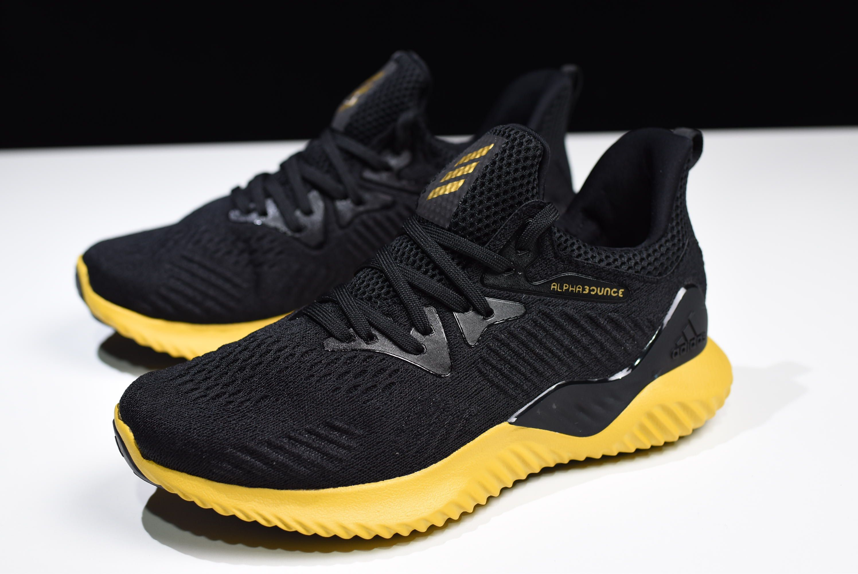 New Adidas Alphabounce Em M Black Yellow Cg5555 With Images Adidas