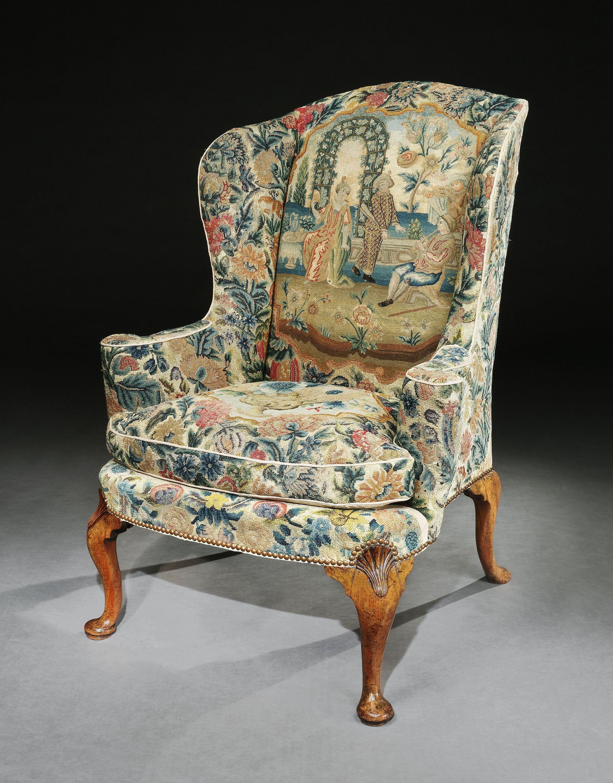A queen anne walnut wing chair wing chair chair