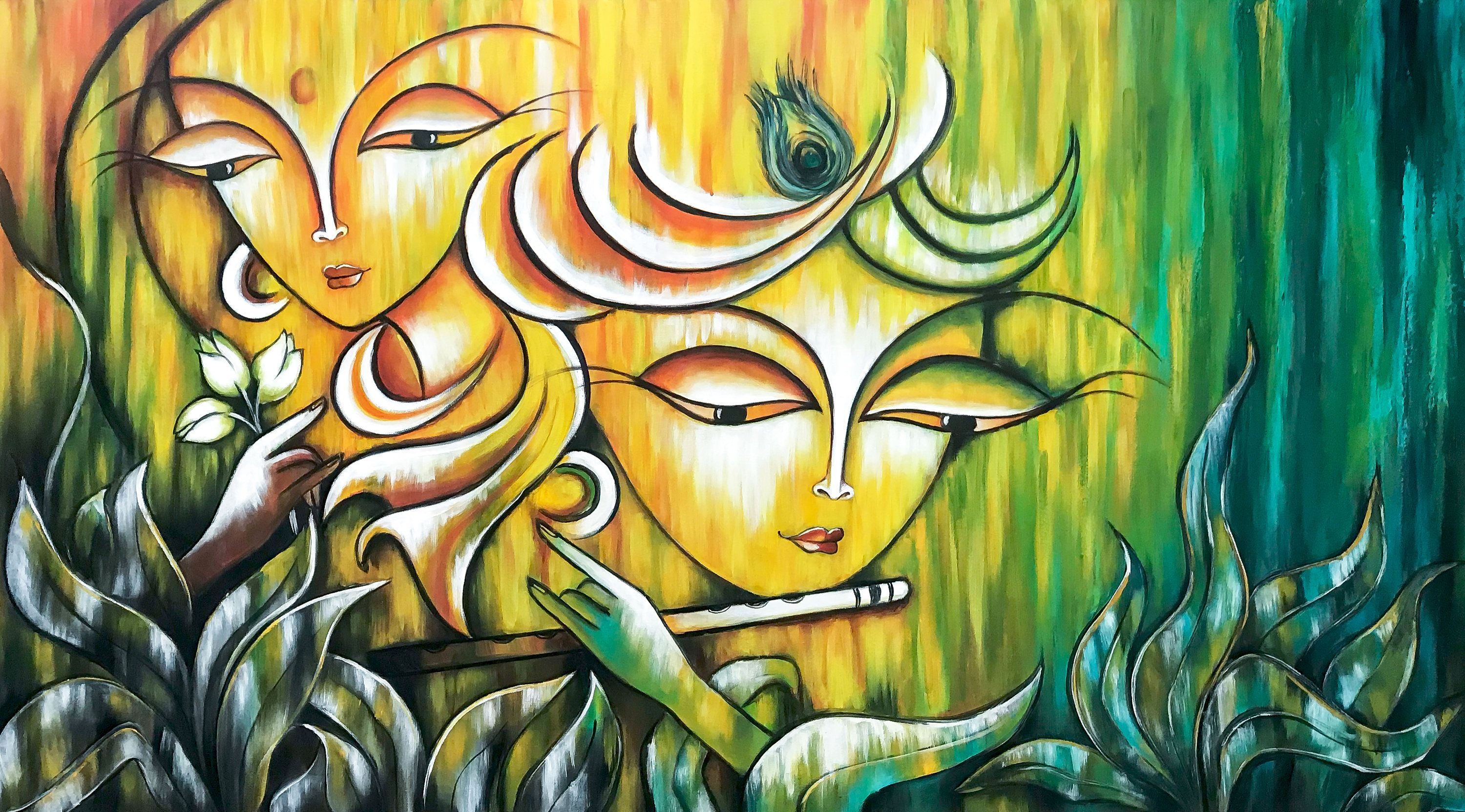 Radha Krishna Painting, Indian art, Hindu God, Modern ...