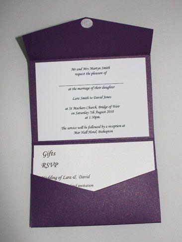 Cadburys Purple Pocketfold Wedding Invitation
