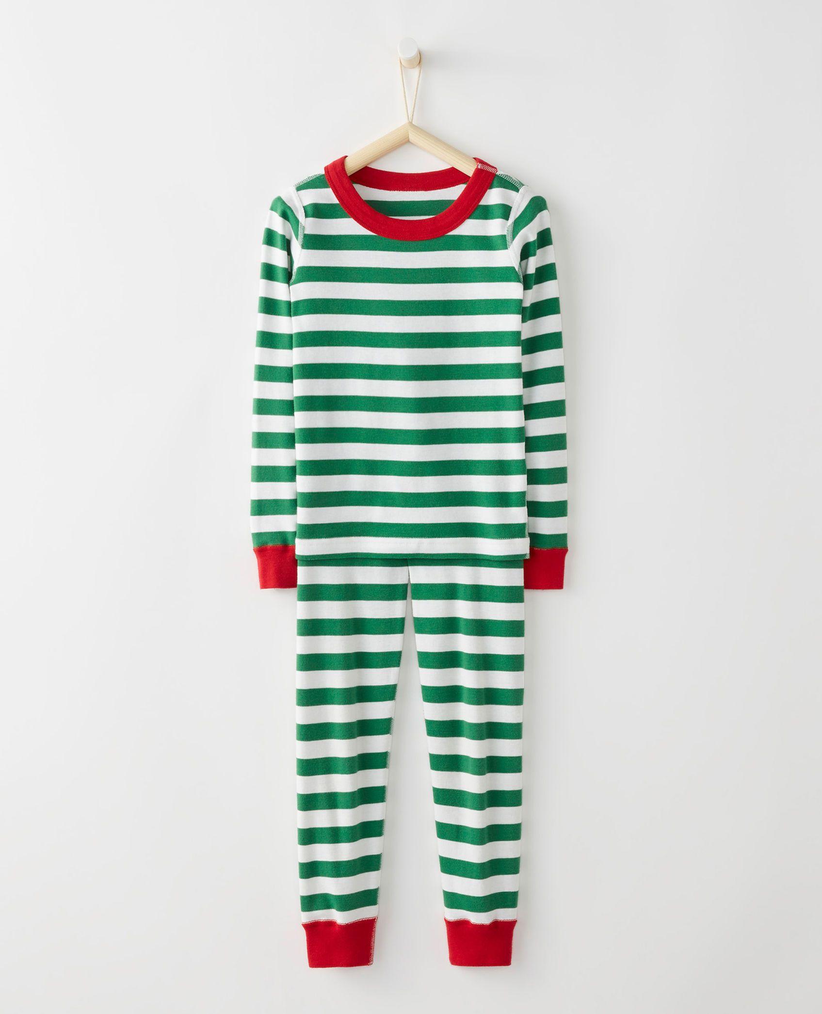 Long John Pajamas In Organic Cotton in Tree green/white