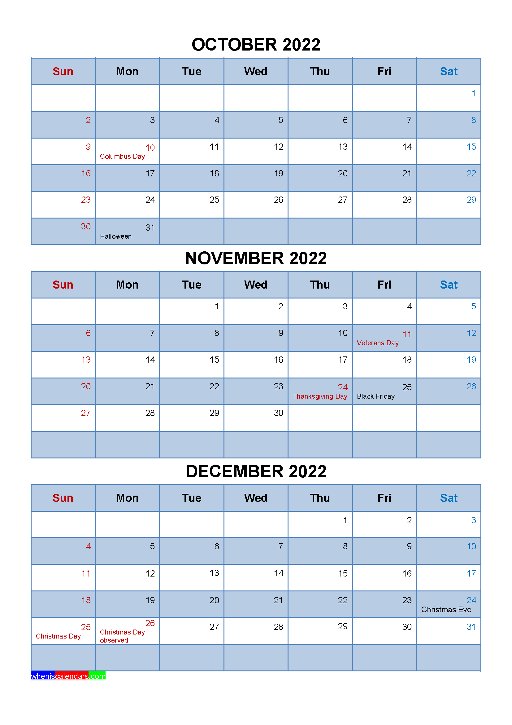 September October November December 2022 Calendar.Free Calendar October November December 2022 With Holidays Four Quarters Calendar Printables Quarterly Calendar Calendar Template