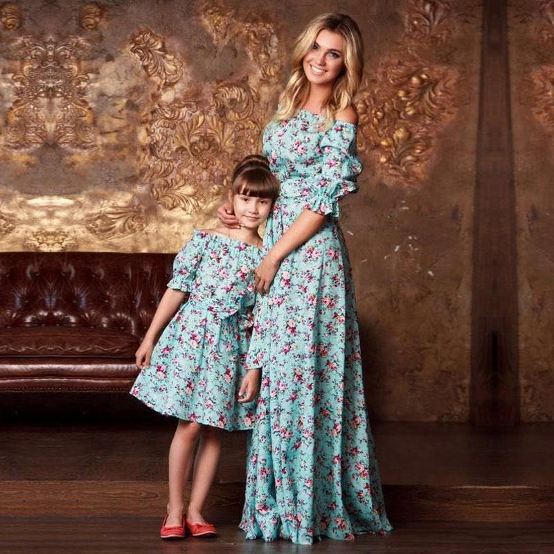 b210a4028051 These gorgeous half-sleeved floral print matching mother daughter maxi  dresses are available in many different colors and sizes.