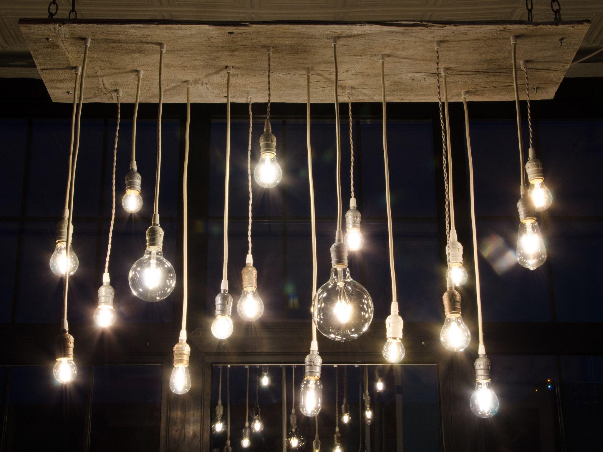Reclaimed Barn Wood Chandelier with varying Edison bulbs Whitewash