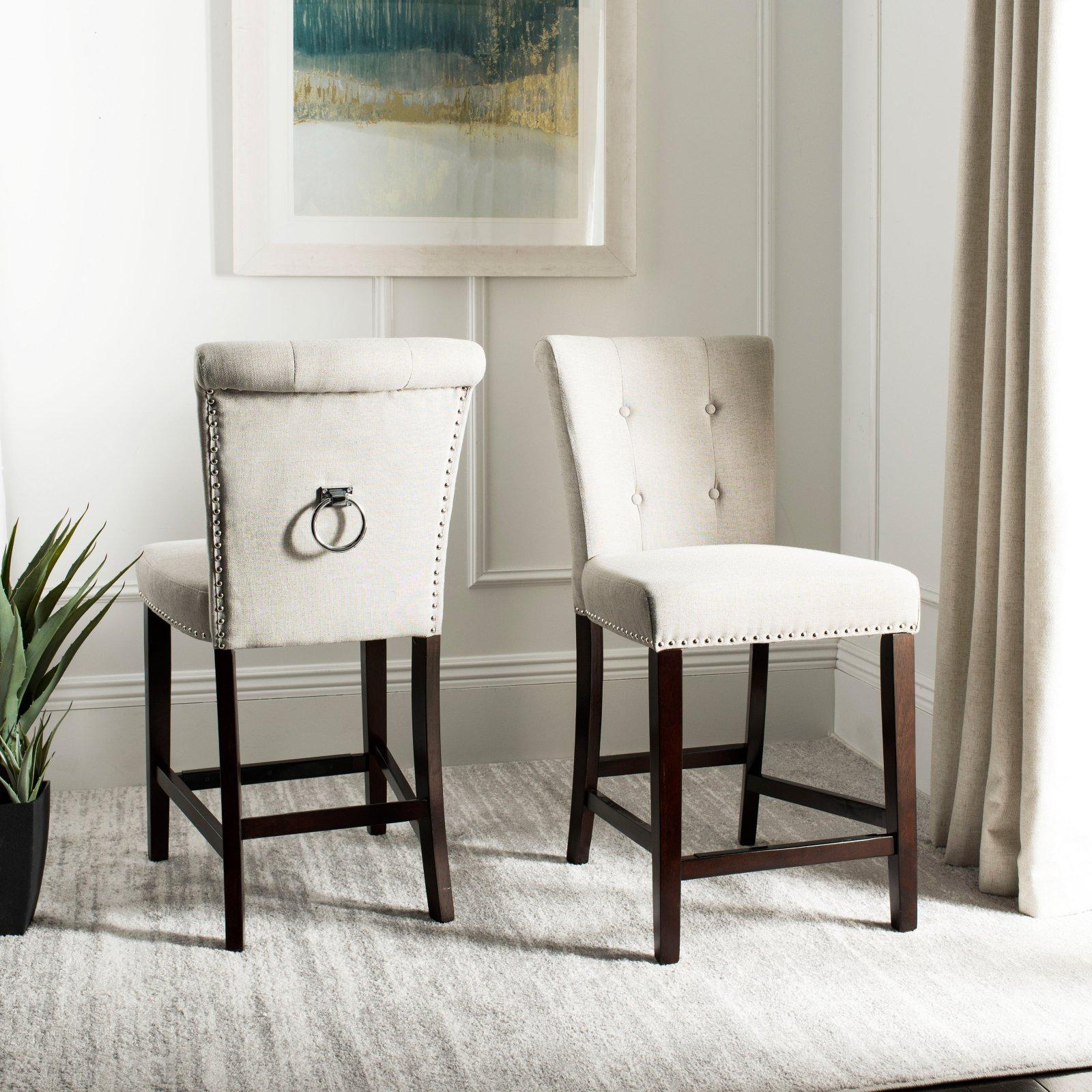 Prime Safavieh Taylor 26 In Counter Stool Set Of 2 Light Gray Bralicious Painted Fabric Chair Ideas Braliciousco