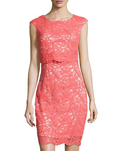 TAEFT JAX Cap-Sleeve Lace Sheath Dress, Coral