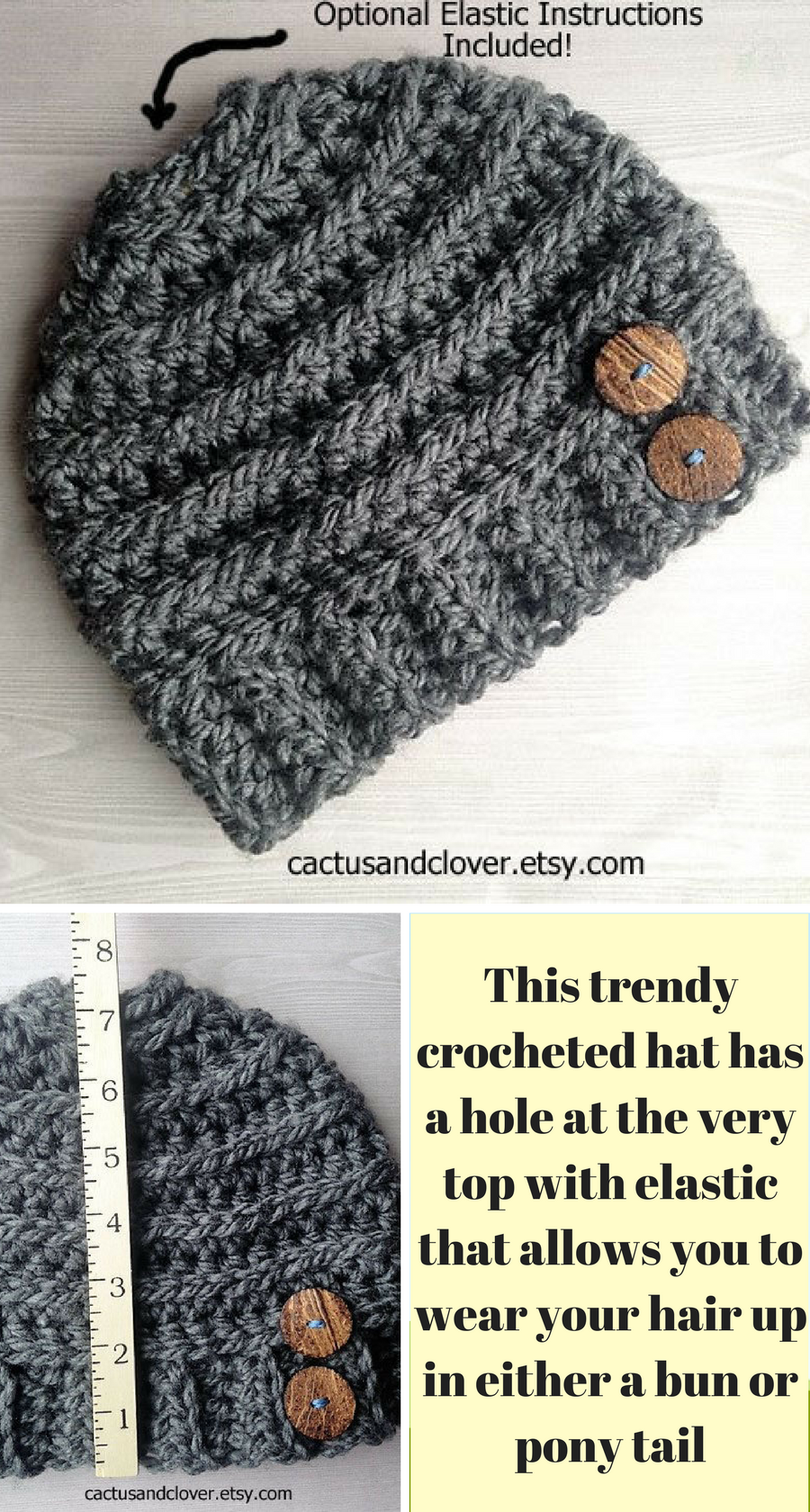 Chunky ribs run the circumference of this Messy Bun Ponytail Hat Beanie  Crochet Pattern and give it a unique look. Made with bulky yarn and a  larger crochet ... 9ba9209e527a