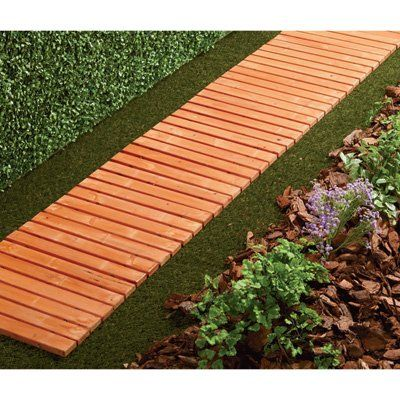 8 Ft Cedar Fir Slat Straight Walkway Wooden Garden Backyard Design Garden Walkway