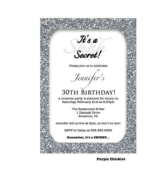 Th Birthday Invitation Silver Glitter Glam Surprise Party Invite - Black and white 30th birthday party invitations