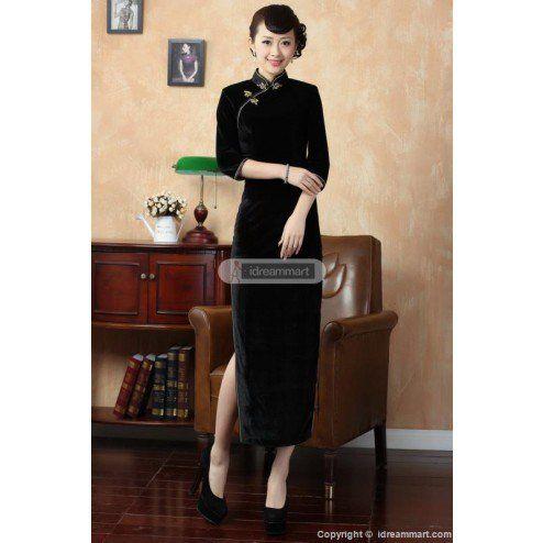 Lady's Black Velvet 3 Quarters Sleeve Classic Full Length Chinese Dress Cheongsam