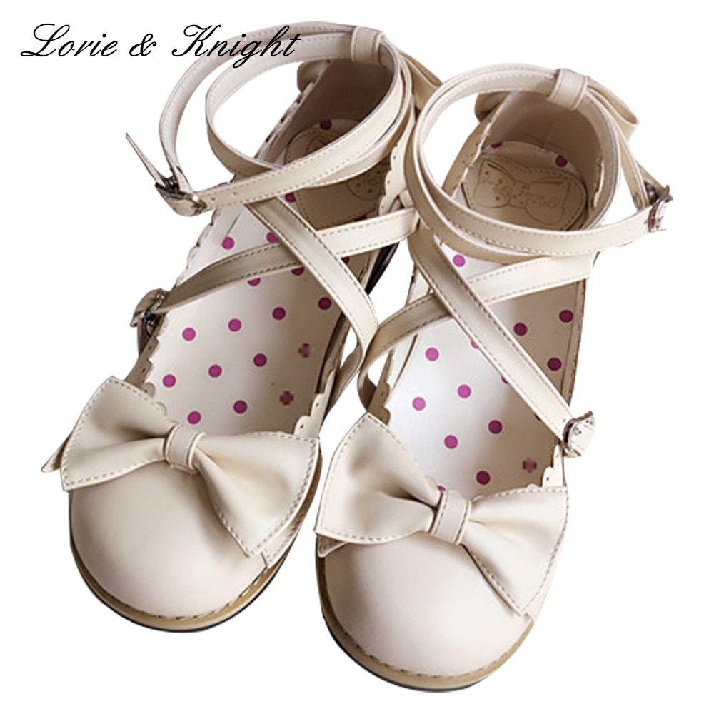 6c8e9c095e Japanese Harajuku Low Chunky Heels Sweet Round Toe Bowtie Princess Lolita  Shoes Kawaii School Girls Shoes