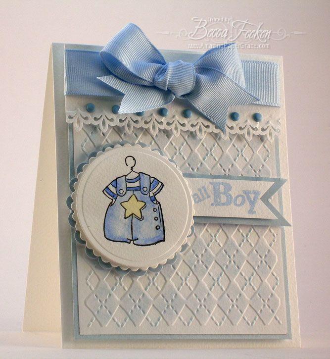 Card Making Ideas Using Cuttlebug Part - 21: Amazing Paper Grace Baby Boy Card Using Cuttlebug Argyle Embossing Folder  ((baby))