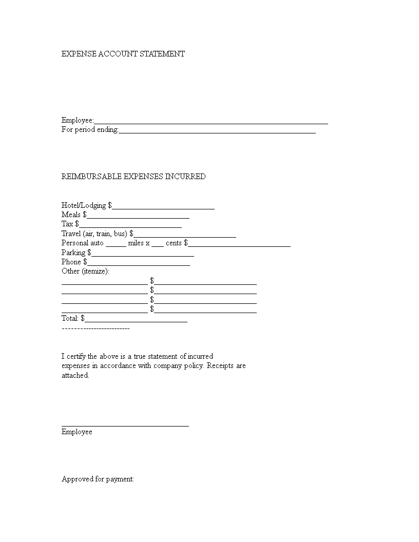 Download Expense Account Statement Form In Word Format