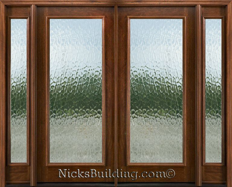Exterior Double Doors With Sidelights Solid Mahogany Flemish Glass