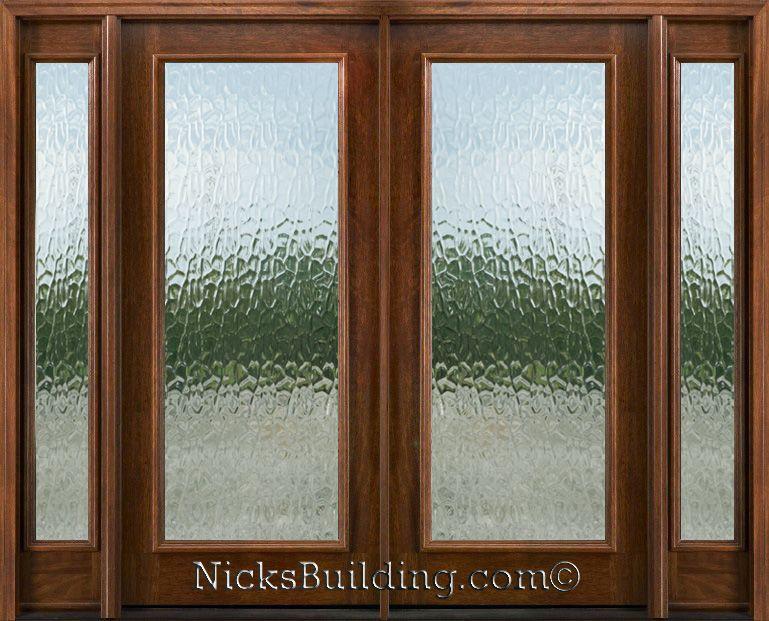 Exterior double doors with sidelights solid mahogany doors flemish glass studio inspiration - Double front entry doors with sidelights ...