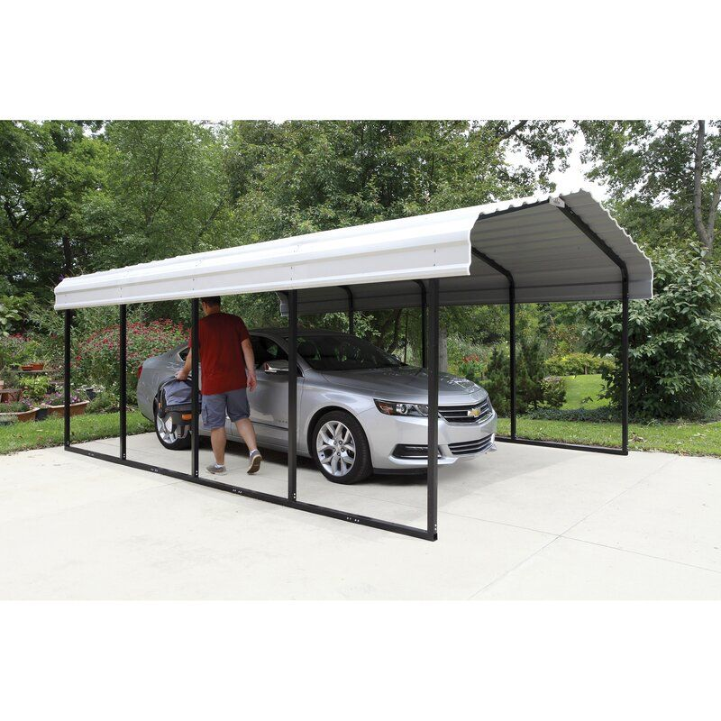 Steel Carport 12 Ft X 20 Ft Canopy In 2020 Steel Carports Carport Designs Carport Canopy