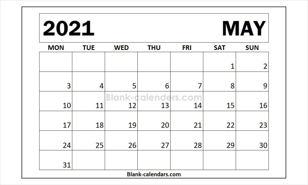 Month Of May 2021 Calendar Template Calendar Template 2021 Calendar Words