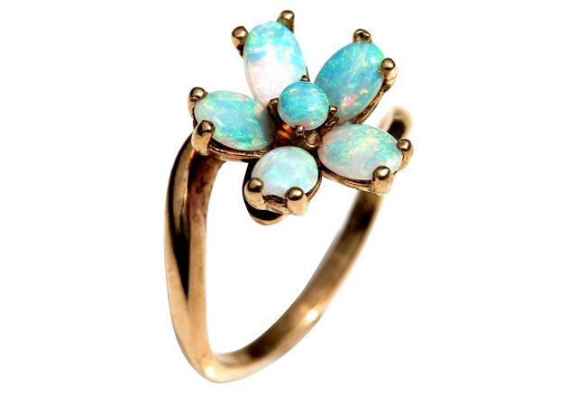 14K Gold & Opal Flower Ring