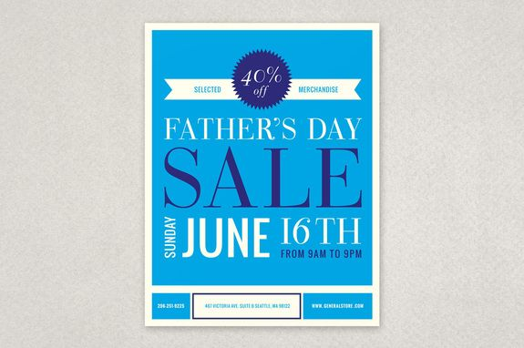 299a28dedf975 Fathers Day Sale Flyer Template - A clean and classic versatile flyer  design for advertising an upcoming Father s Day sale. Can also be  customized to suit ...