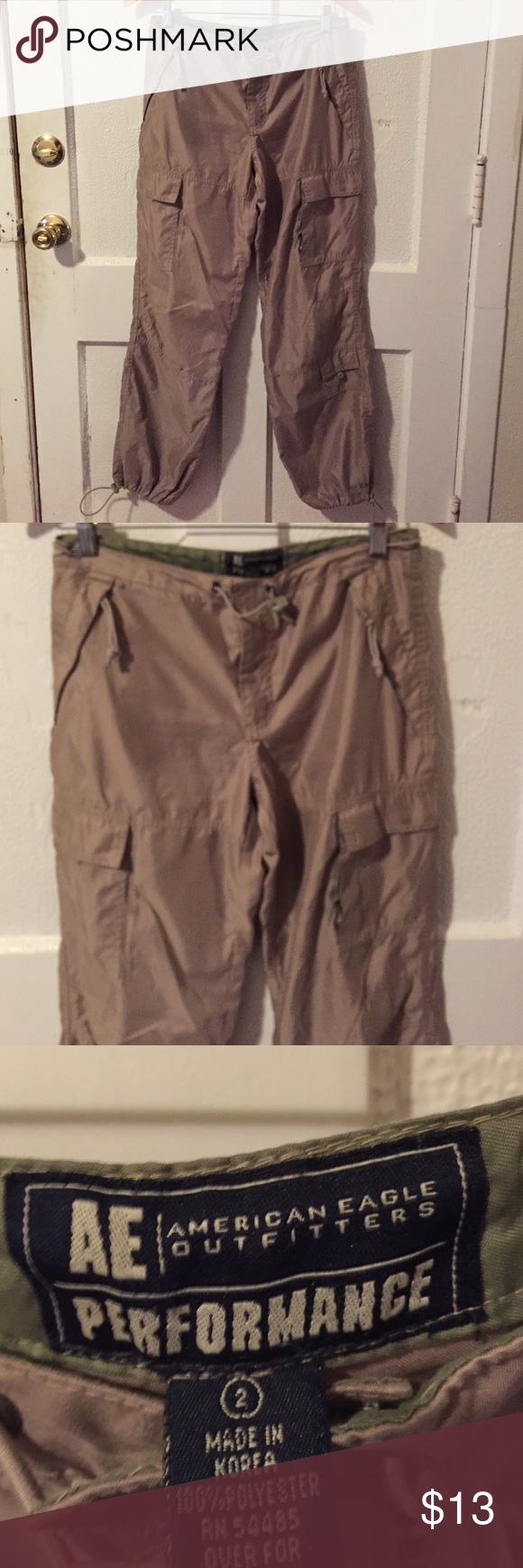 American Eagle Khaki Cargo Pants size 2 Excellent condition khaki cargo pants size 2. No defects. If you're worried about fit, feel free to ask for measurements, but please don't leave me neutral/ negative feedback if the item doesn't fit! :) American Eagle Outfitters Pants
