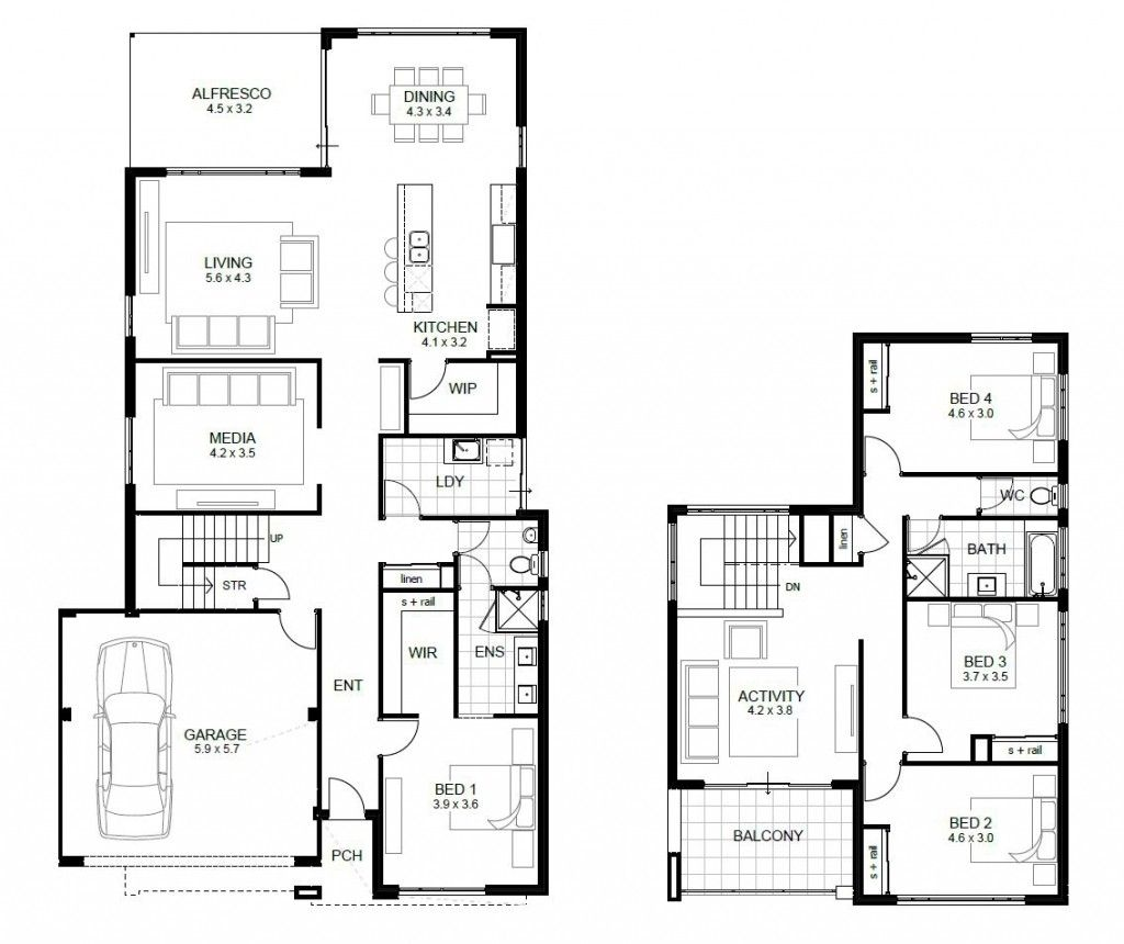 4 Bedroom House Designs South Africa Two Storey House Plans Double Story House Bedroom House Plans