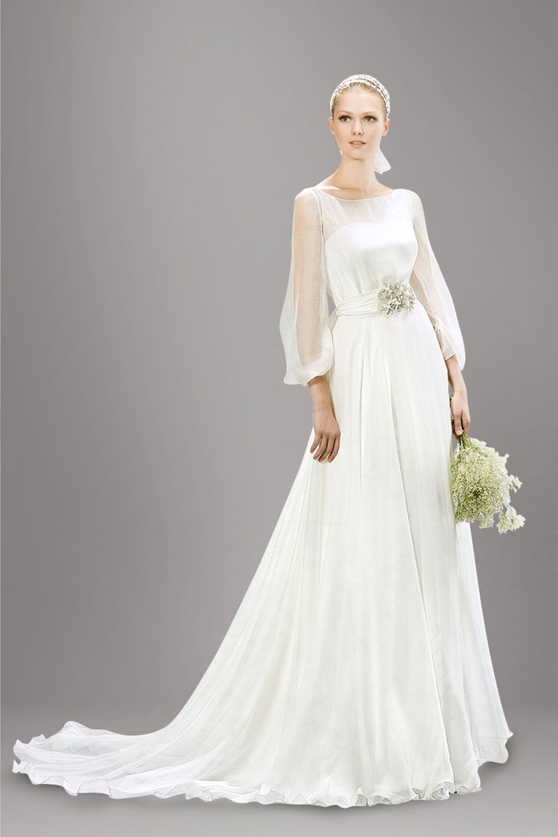 Illusion Bateau Neck Flower Long Ivory Wedding Dress With Sleeves