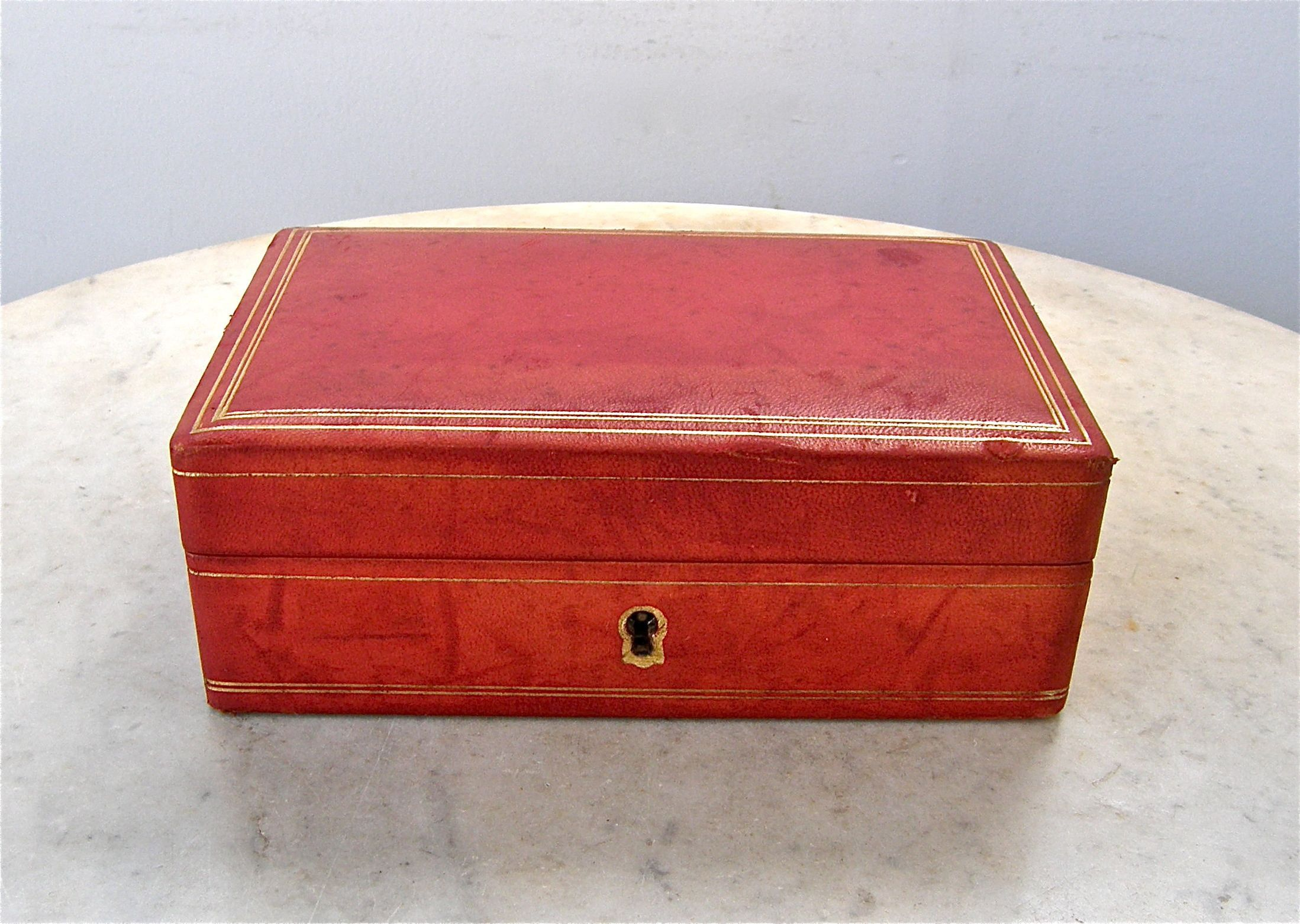 Leather Jewelry Box Trinket Case Red Gold Striped Border Red Etsy Leather Jewelry Box Velvet Interiors Gold Stripes
