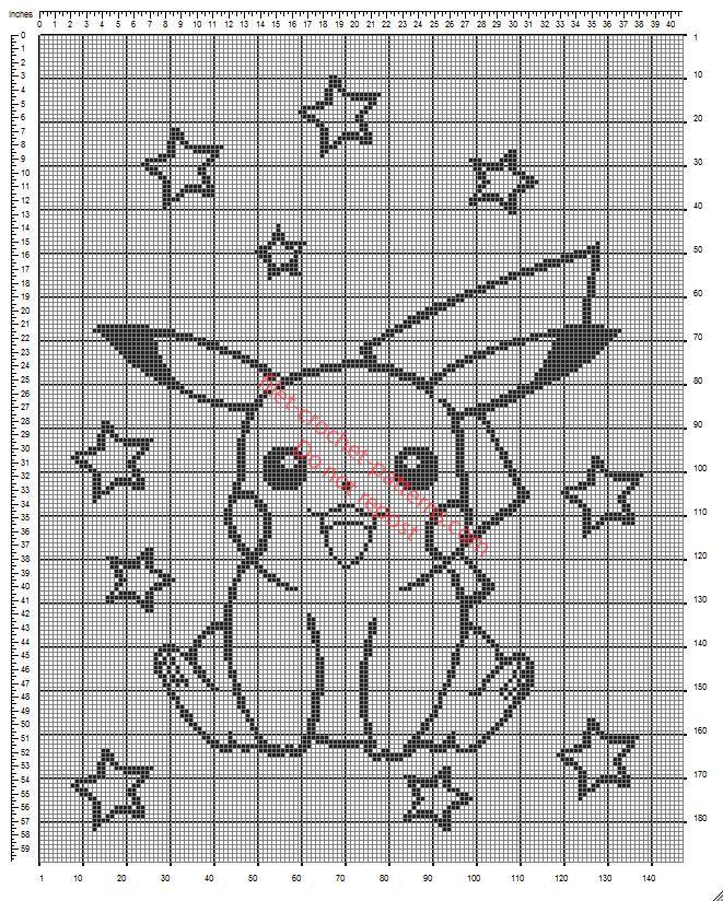 Crib blanket with Pokemon Pikachu free crochet filet pattern diagram ...