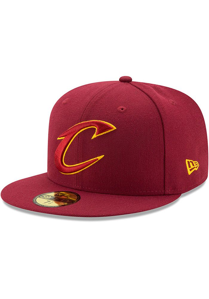 check out e0c1e 5f585 New Era Cleveland Cavaliers Mens Maroon 59FIFTY Fitted Hat, Maroon, 100%  POLYESTER, Size 7 1 4