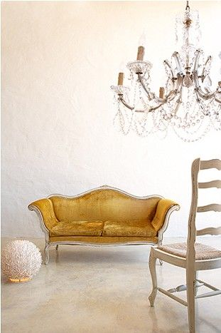a pop of yellow with a velvet settee. love the velvet #home #settee