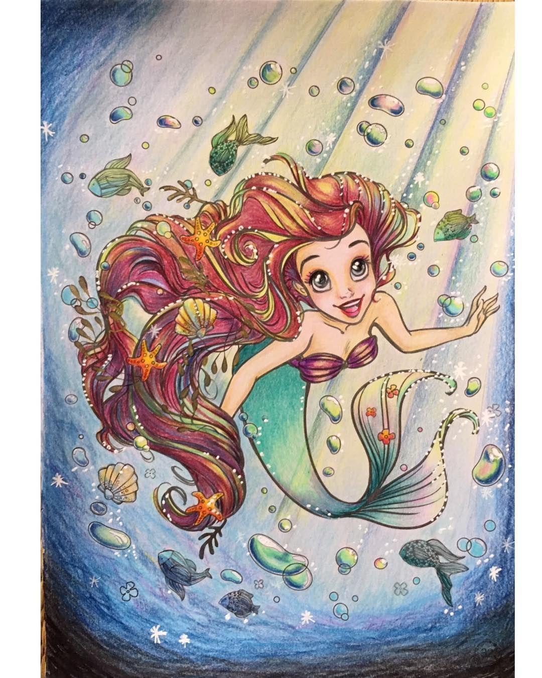 アートぬりえariel より 毎日暑い日が続いています 少しでも涼しく感じれば と このページ イメージは 光が差し込む水中から海面を望む アリエル いろんな色で髪の流れを塗るのが楽しかったです 泡のつもりで白ペン多用しました ディズニー