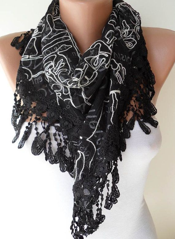 Black and White Scarf  with Black Trim Edge - -17.90 USD