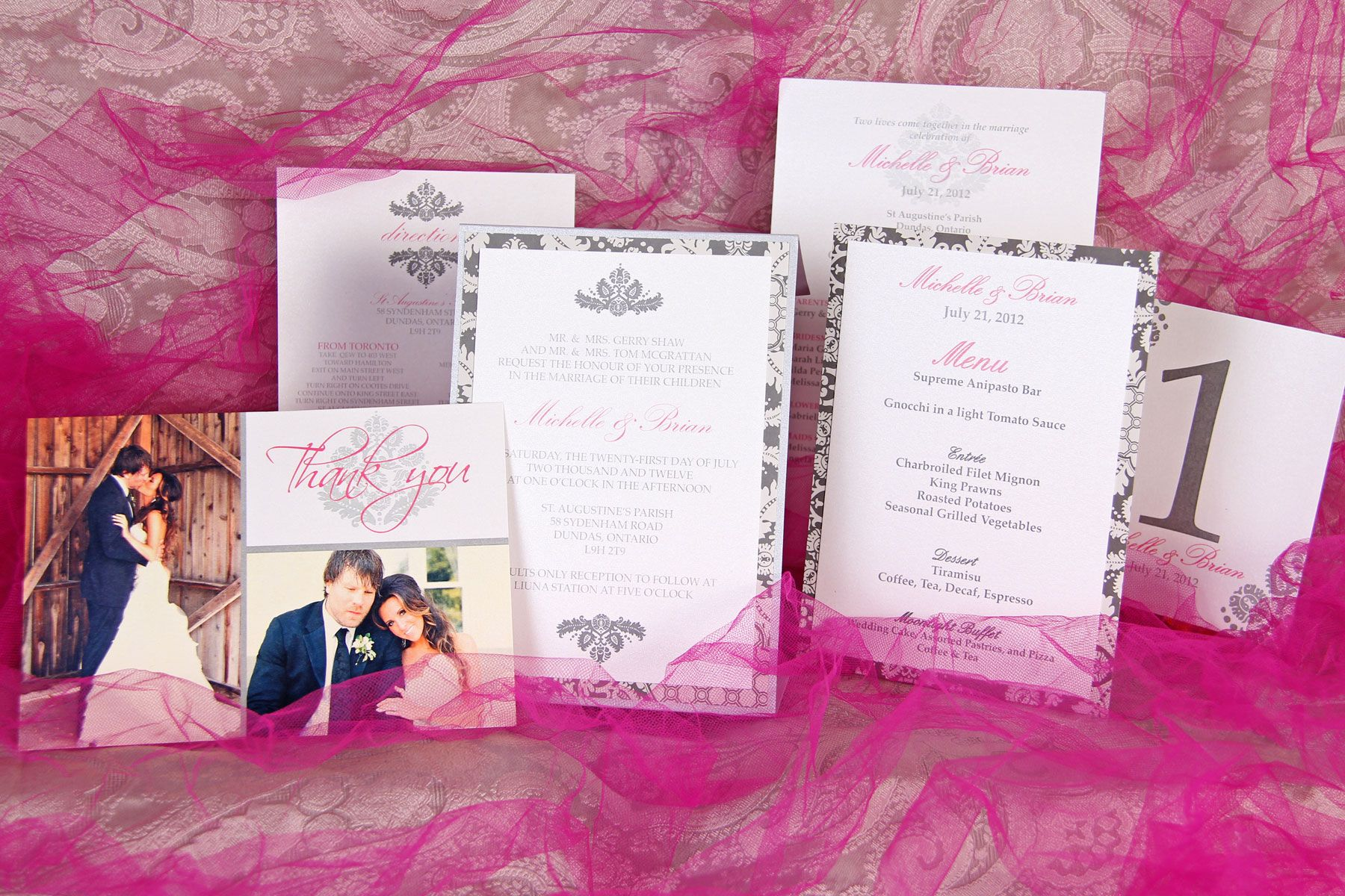 Grey and Soft Pink Damask Themed Wedding Invitation with matching ...