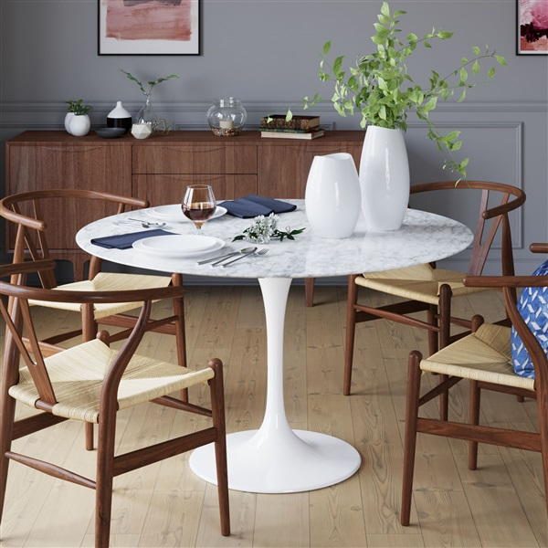 Saarinen Tulip Round Marble Dining Table Pedestal Dining Table