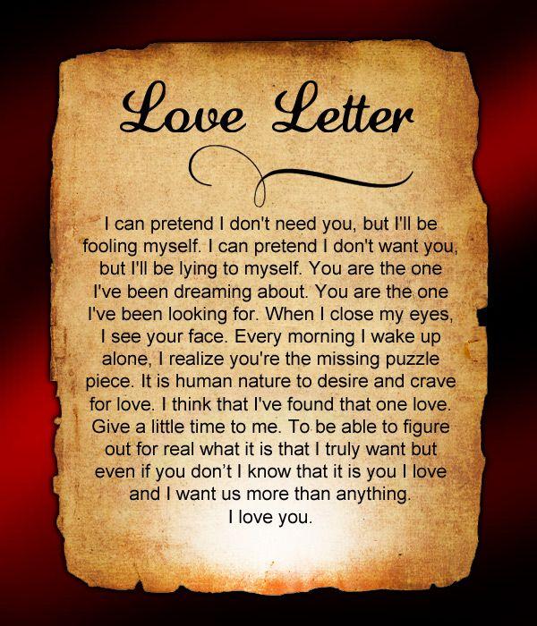 Romantic Short Love Letters For Him