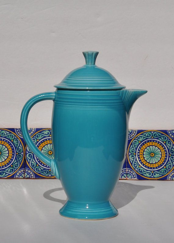 Fiestaware Coffee Pot, Vintage, Art Deco Design, Original Turquoise Glaze, Homer Laughlin Fiesta Ware Dishes Circa 1940 on Etsy, $120.00