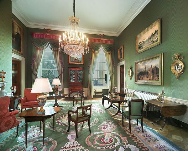 this 2009 color photograph depicts the green room of the