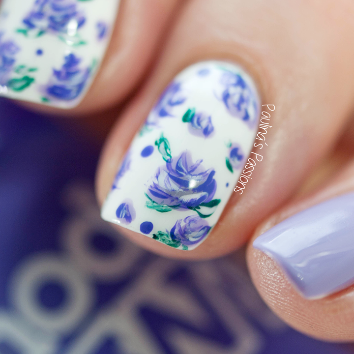 Purple Floral Nails by Paulina's Passions