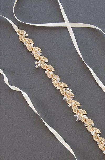 Gold Leaf Bridal Sash