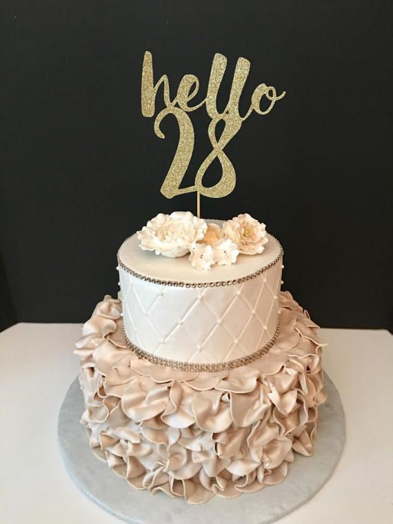 Any Number Gold Glitter Hello 28 Cake Topper 28th